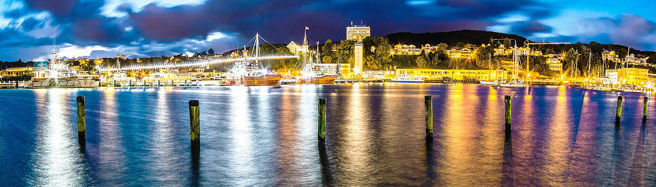 Panoramic view of the city port of Sassnitz in the evening.