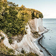 View from the steep coast to the chalk cliffs of Jasmund Resort.